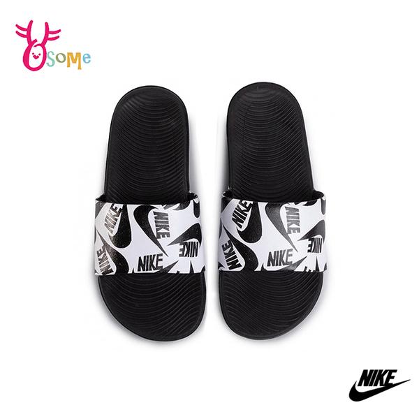 NIKE童鞋 男女童拖鞋 LOGO滿版 KAWA SLIDE 防水拖鞋 運動拖鞋 輕便 室內室外拖鞋 大童 女鞋可穿 Q7137