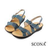 SCONA蘇格南 全真皮 手工舒適鑽飾厚底涼鞋 藍色 31016-1