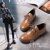 英倫鞋 初羨2018秋季新款小皮鞋女單鞋小坡跟韓版學生鞋粗跟系帶英倫鞋子