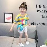 女童夏裝純棉短袖T恤時髦小兒童卡通條紋半袖3歲男寶寶上衣 夏 鉅惠85折