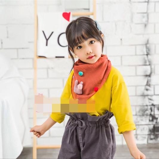 韓版兒童絲巾小方巾薄款棉麻女童三角巾寶寶嬰兒圍巾男童春秋冬季