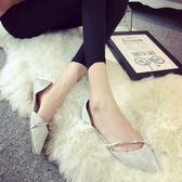 涼鞋 包頭正韓亮片平跟淺口單鞋 平底 尖頭
