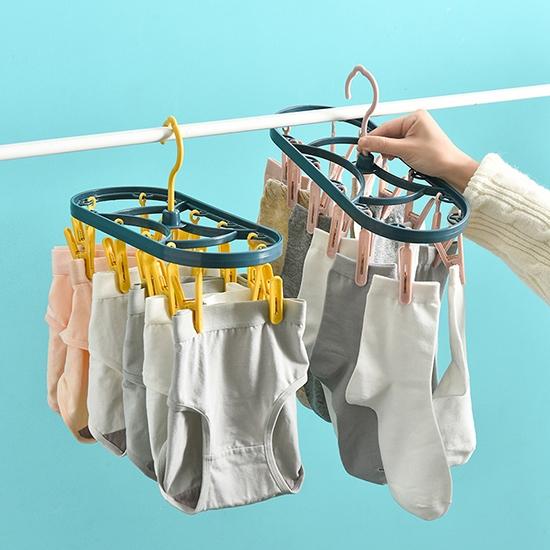 曬襪架 曬衣架 晾曬架 衣夾 攜帶式 塑膠夾 夾子 防風夾 摩登系列 撞色12夾晾衣架【B016】慢思行