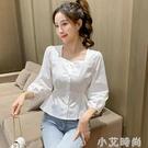 2021年春季女裝新款方領系帶襯衣韓版純色長袖修身百搭高腰上衣女 小艾新品