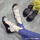 涼鞋水鑚女夏季2018新款韓版時尚百搭仙女的鞋厚底學生軟妹女鞋子 LannaS