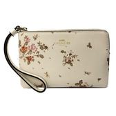 【COACH】PVC皮革花卉手拿零錢包(花卉米白)