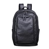 真皮後背包-黑色牛皮15.6吋電腦包男雙肩包73xp4[時尚巴黎]