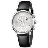 Calvin Klein CK Posh紳士簡約三眼皮帶腕錶(K8Q371C6)43mm