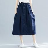 實拍棉麻半身裙文藝中長款夏百搭寬鬆顯瘦復古民族風亞麻裙子 快速出貨
