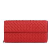 【BOTTEGA VENETA】小羊皮二折壓釦零錢袋長夾(紅) 150509 V001N 6411