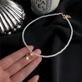 氣質溫柔淑女風珍珠項鏈女簡約百搭鑲鉆愛心鎖骨鏈頸鏈 花樣年華