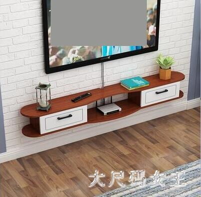 北歐客廳電視櫃 電視背景墻壁掛裝飾隔板置物架機頂盒現代實木 BT12673【大尺碼女王】