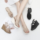 厚底涼鞋 2021新款高跟坡跟涼鞋女夏季百搭學生韓版舒適磨砂厚底防水臺仙女