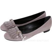 TOD'S 漆皮流蘇拼接麂皮芭蕾舞鞋(耦色) 1530292-C5