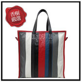 巴黎世家SHOPPER紅黑藍白直式購物包480792全新商品