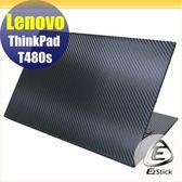 【Ezstick】Lenovo ThinkPad T480S 黑色立體紋機身貼 (含上蓋貼、鍵盤週圍貼) DIY包膜