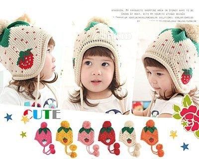 冬季韓版 嬰兒可愛草莓護耳毛帽/寶寶保暖帽