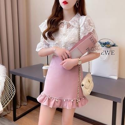 短袖套裝~夏季娃娃領釘珠蕾絲衫百搭釘珠木耳邊半身裙兩件套女H311-E胖妞衣櫥