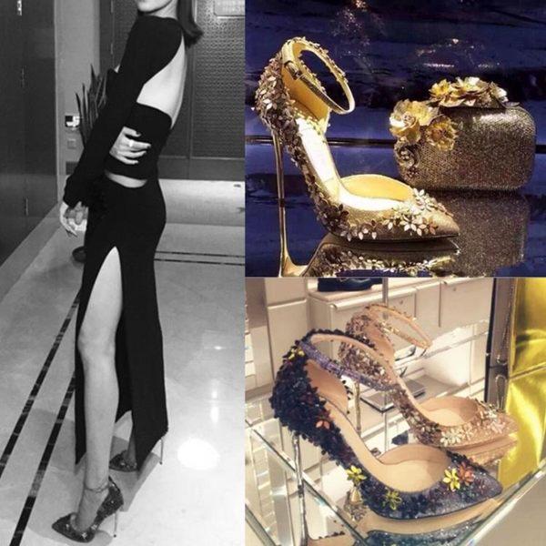 女水鑽單鞋金色婚鞋新娘鞋女