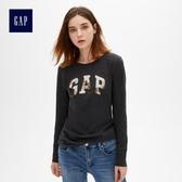 Gap女裝 Logo印花長袖圓領T恤 495487-深煙灰色