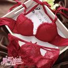粉紅拉拉*爆乳W杯型x側壓集中厚墊3cm→簍空假丁字褲(附贈繞頸肩帶)日系內衣褲組【PN384】紅色