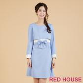 RED HOUSE-蕾赫斯-素面蕾絲剪接洋裝(淺藍色)