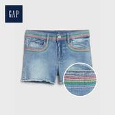 Gap 女童 撞色條紋五口袋牛仔短褲 539984-中度水洗
