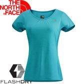 【The North Face 女 FLASHDRY短袖T恤 霧青藍】NF00CA3A/短袖/快乾上衣/T恤★滿額送