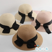 夏日遮陽帽親子兒童草帽夏天防曬沙灘帽蝴蝶結大檐帽子【奇趣小屋】