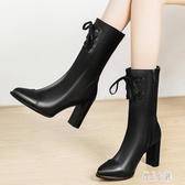 中筒靴女粗跟2019秋冬季新款女靴尖頭高跟馬丁靴皮靴女短筒靴 XN7851【優品良鋪】