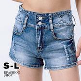 短褲-雙扣腰三角刷白牛仔短褲-eFashion 預【K12101101】