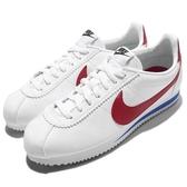Nike 阿甘鞋 Wmns Classic Cortez Leather 復古慢跑鞋 白 藍 紅 OG 女鞋【PUMP306】807471-103
