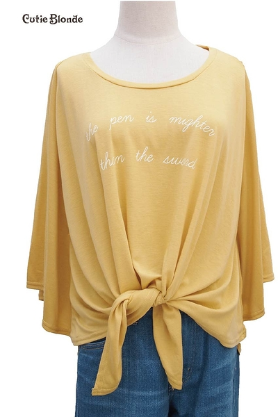 Cutie Blonde 黃色綁帶五分袖上衣