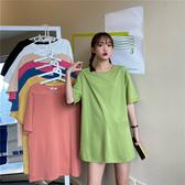 中長版t恤 夏季基礎色常規圓領中長款下半身失蹤短袖寬鬆t恤