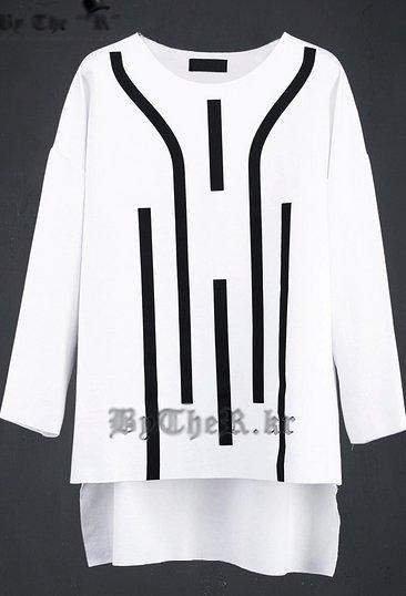 【找到自己】高品質 進口 韓國 前短後長 歐美風格 上衣 黑 未來 幾何 設計 米蘭 ZNIF 亞森 PEACE