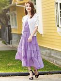 春夏新品[H2O]合身多層抽褶大波浪附腰帶度假風長洋裝 - 紅/藍/淺紫色 #9674008