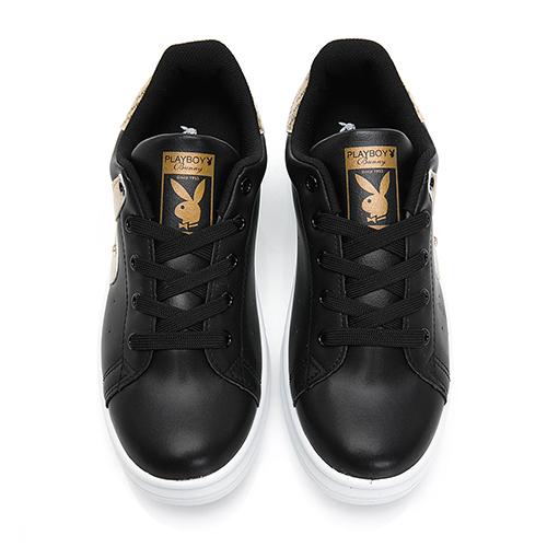 PLAYBOY 率性有型 後跟品牌字樣休閒鞋-黑(Y5718)