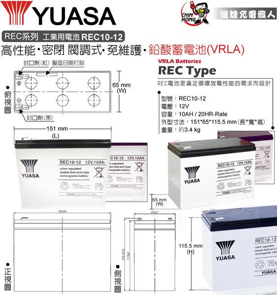 【CSP】YUASA 湯淺 REC 10-12 12V 10AH 電動代步車(REC10-12)