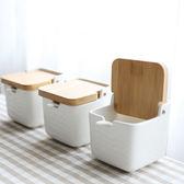 創意日式陶瓷竹木調味罐調味料罐調料盒調味瓶鹽罐三件套裝    琉璃美衣