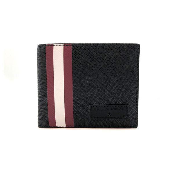 【台中米蘭站】全新品 BALLY 紅白紅條紋荔枝紋牛皮短夾 (6224357-黑)