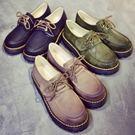 小皮鞋.英倫經典復古擦色繫帶小皮鞋.白鳥...