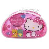 〔小禮堂〕Hello Kitty 半圓防水透明拉鍊筆袋《粉.彩熊》化妝包.收納包.鉛筆盒 4713791-97056