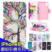 蘋果 IPhone8 皮套 手機套 保護套 內軟殼 插卡 支架 磁扣 繽紛彩繪系列