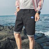 夏季薄款破洞牛仔短褲男五分褲直筒修身男士中褲5分百搭馬褲潮流【叢林之家】