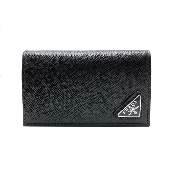 【台中米蘭站】全新品 PRADA Saffiano十字紋防刮牛皮釦式卡夾/卡包(2MC122-黑)