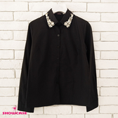 【SHOWCASE】俏麗縫鑽領氣質款OL襯衫(黑)
