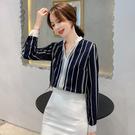 VK精品服飾 韓國風條紋襯衫波點V領雪紡衫長袖上衣