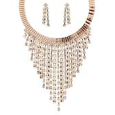 項鍊鍍18K金+耳環-高貴奢華鑲鑽流蘇女毛衣鍊73nt22【時尚巴黎】