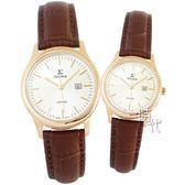 【台南 時代鐘錶 SIGMA】簡約時尚 藍寶石鏡面情人對錶 1636M-R02 & 1636L-R02 金/咖啡 平價實惠