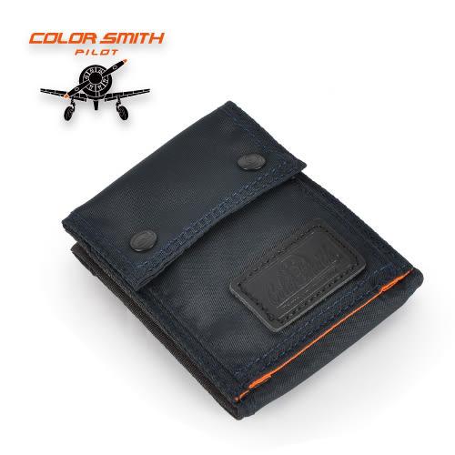 【COLORSMITH】PI・對折零錢短夾-藍黑色・WLPL2036-BL